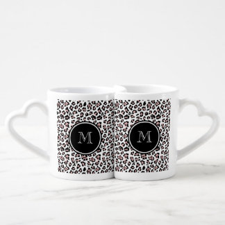 Pink Black Leopard Animal Print with Monogram Coffee Mug Set