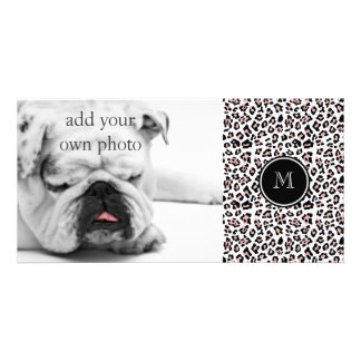 Pink Black Leopard Animal Print with Monogram Photo Card Template