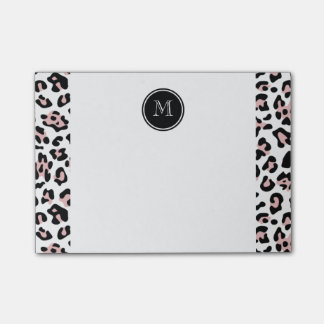 Pink Black Leopard Animal Print with Monogram Post-it Notes