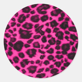 pink/black leopard classic round sticker