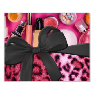 Pink Black Leopard Pattern Print Cosmetic Bow