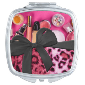 Pink Black Leopard Pattern Print Cosmetic Bow Compact Mirror