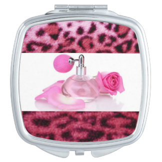 pink,black,leopard+print,design,wild,fur,cosmetics makeup mirrors