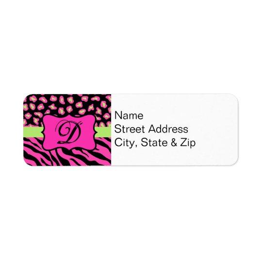 Pink, Black & Lime Green Zebra & Cheetah Skins Return Address Label