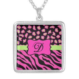 Pink, Black & Lime Green Zebra & Cheetah Skins Square Pendant Necklace