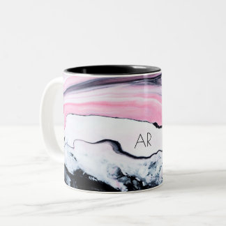 Pink & Black Marble Two-Tone Coffee Mug