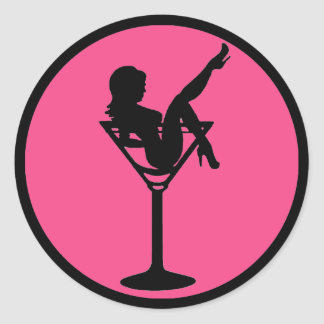 Pink black martini girl silhouette stickers