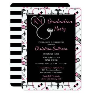 Pink | Black Medical Nurse Graduation Party Card