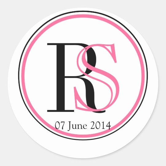 Pink Black Modern Monogram Wedding Favour Label Round Sticker