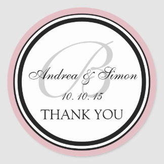Pink Black Monogram B Wedding Thank You Classic Round Sticker