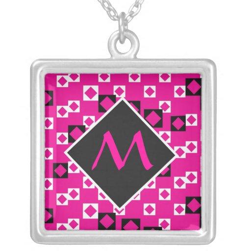 Pink & Black Monogram Geometric Necklaces