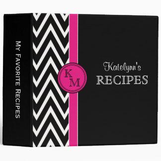 Pink & Black Monogram Recipe Binder