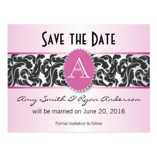Pink & black monogram vintage save the date postcard
