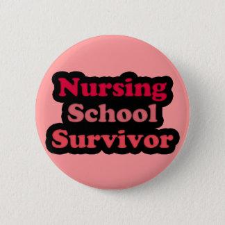 Pink Black Nursing School Survivor 2 Inch Round Button