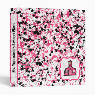 Pink & Black Paint Splatter Fancy Teacher Binder