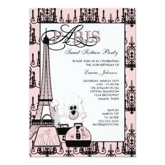 "Pink Black Paris Chandelier Sweet 16 Party 5"" X 7"" Invitation Card"