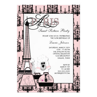 Pink Black Paris Chandelier Sweet 16 Party Invitations