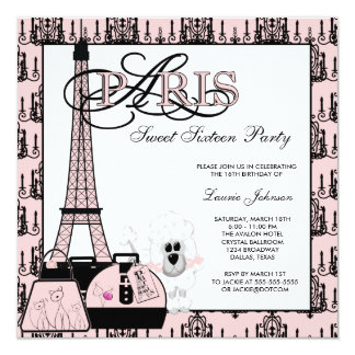 Pink Black Paris Chandelier Sweet Sixteen Party Card