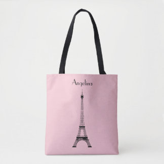 Pink Black Paris Eiffel Tower with Name Tote Bag