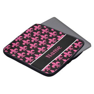 Pink Black Personalized Fleur de Lis Laptop Sleeve