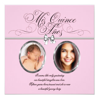 Pink Black Photo Quinceanera Card