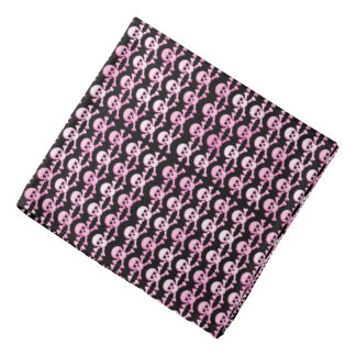 pink black pirate skulls pattern bandana