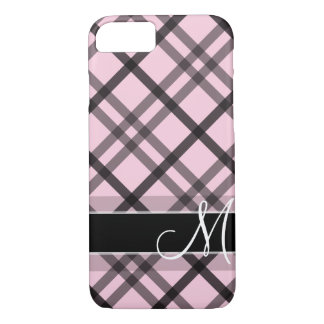 Pink Black Plaid with Monogram iPhone 8/7 Case