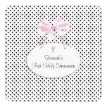 Pink Black Polka Dot Cross Girls First Communion