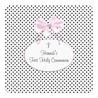 Pink Black Polka Dot Cross Girls First Communion Card