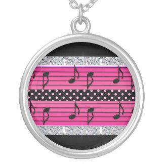Pink & Black Polka Dot Diamonds & Musical Notes Round Pendant Necklace
