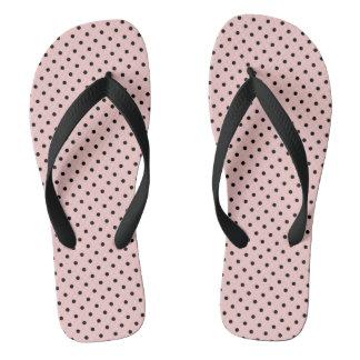 Pink black polka dot flip flops