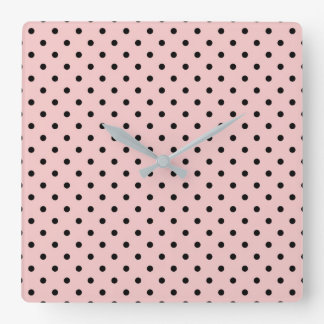 Pink black polka dot square wall clock