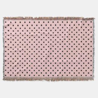 Pink black polka dot throw blanket