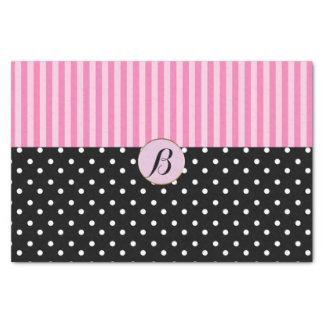 Pink Black Polka Dots Stripes Modern Paris Chic Tissue Paper