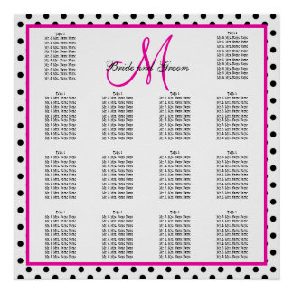 Pink Black Polka Dots Wedding Seating Chart