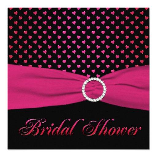 Pink, Black, Red Hearts Bridal Shower Invitation