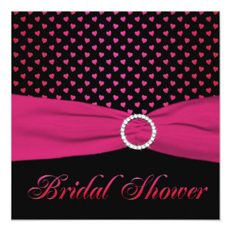 Pink, Black, Red Hearts Bridal Shower Invitation