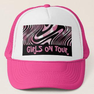 Pink Black Shimmery Zebra Stripe Girly Trucker Hat