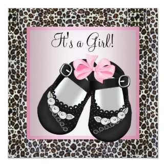 Pink Black Shoes Pink Leopard Baby Girl Shower 5.25x5.25 Square Paper Invitation Card