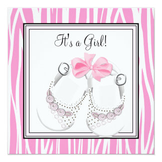 Pink Black Shoes Pink Zebra Baby Girl Shower 5.25x5.25 Square Paper Invitation Card