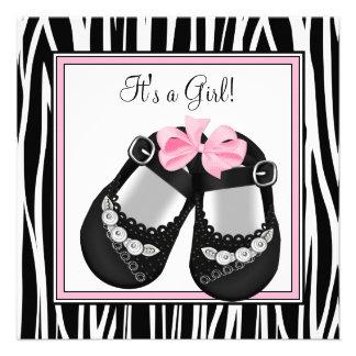 Pink Black Shoes Pink Zebra Baby Girl Shower Invitations