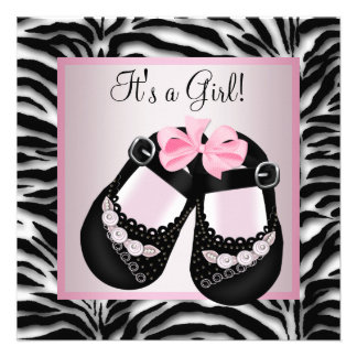 Pink Black Shoes Pink Zebra Baby Shower Custom Invitation