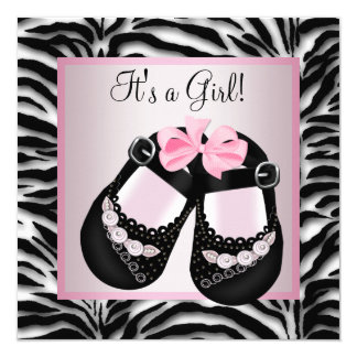 Pink Black Shoes Pink Zebra Baby Shower 5.25x5.25 Square Paper Invitation Card