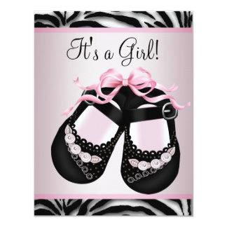 Pink Black Shoes Pink Zebra Baby Shower Custom Announcement