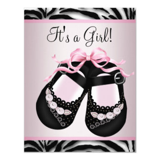 Pink Black Shoes Pink Zebra Baby Shower Custom Announcement