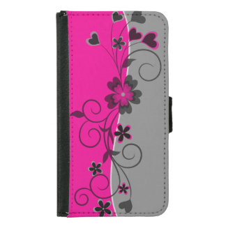 Pink Black Silver swirly flowers and hearts design