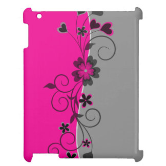 Pink Black Silver swirly flowers and hearts design Case For The iPad 2 3 4