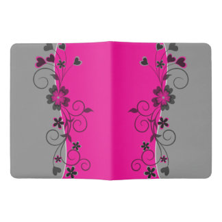 Pink Black Silver swirly flowers and hearts design Extra Large Moleskine Notebook