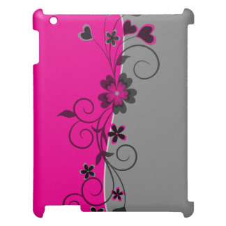 Pink Black Silver swirly flowers and hearts design iPad Cover