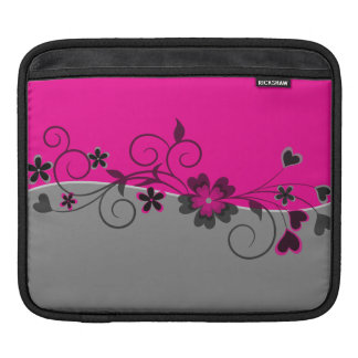 Pink Black Silver swirly flowers and hearts design Sleeves For iPads